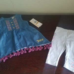 NEW BABY GIRL JUICY COUTURE TASSLE DRESS SET 0/3 M